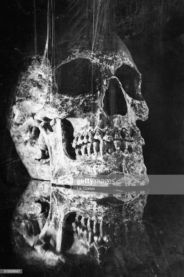 Scratch cracked and damaged human skull, reflection surface
